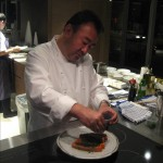Tetsuya adminsters the final touches of chives and konbu