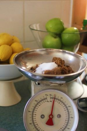 Brown sugar weighed for the banana cake