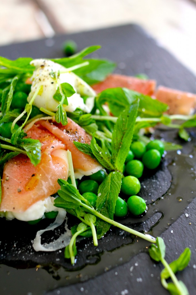 Fresh Buffalo mozzarella salad with peas,  mint and prosciutto