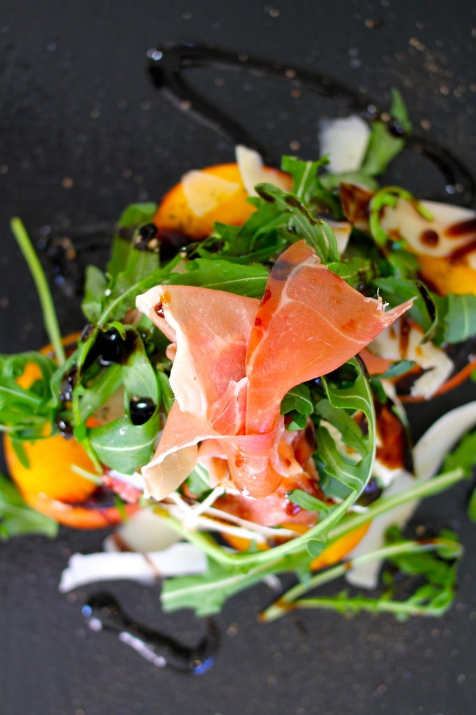 Grilled peach and burrata salad with Prosciutto di San Daniele